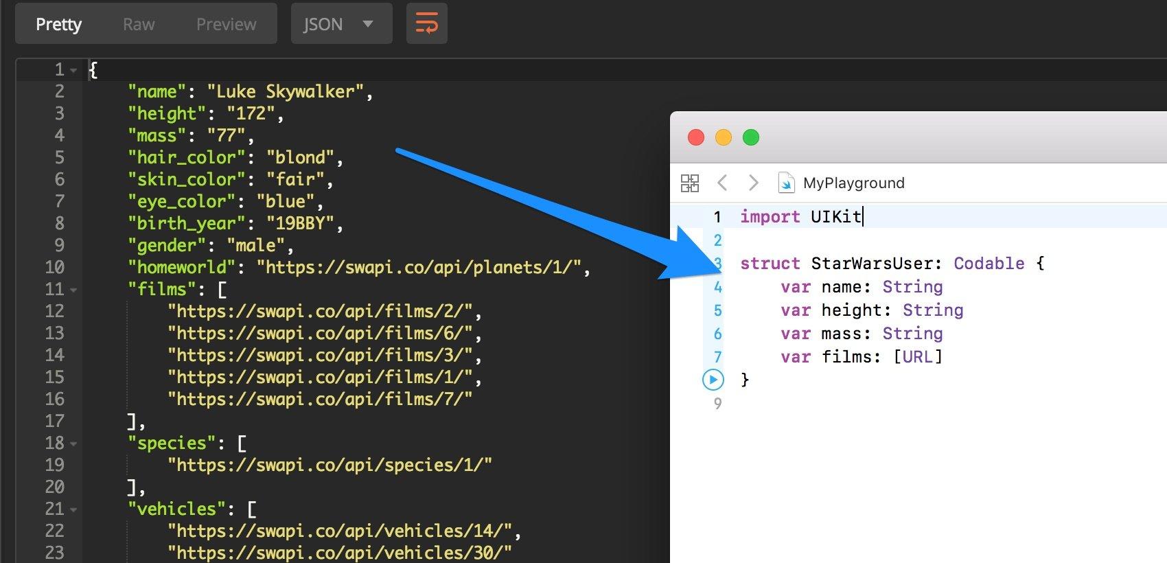 decodificare un file JSON con il linguaggio Swift