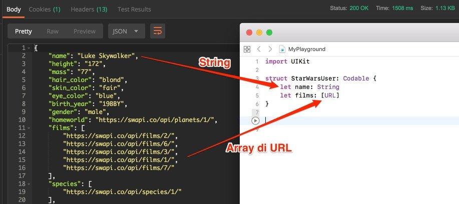 Mappare chiavi valore JSON Codable linguaggio swift