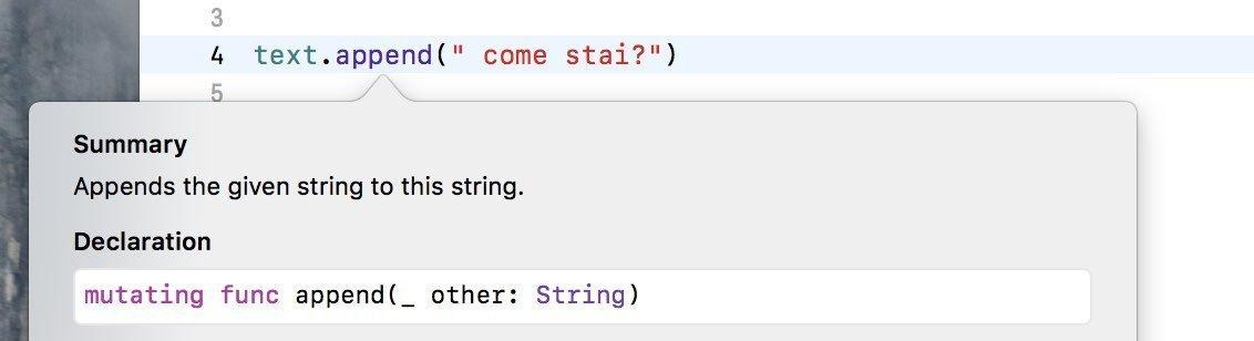 Metodi dei tipi di dato swift