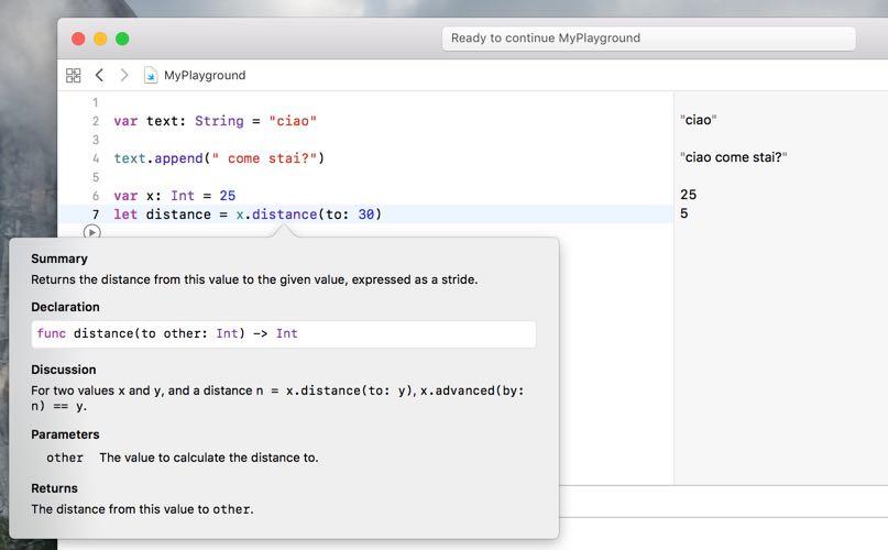 metodo distance to e label metodi linguaggio swift