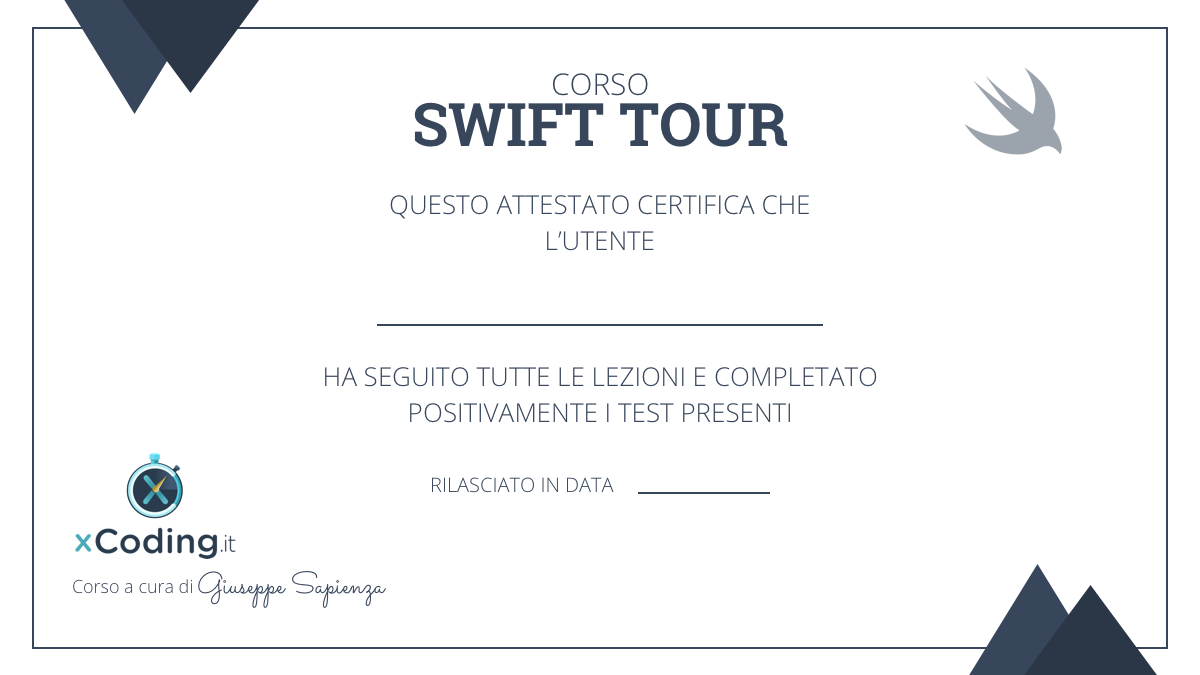 attestato swift tour
